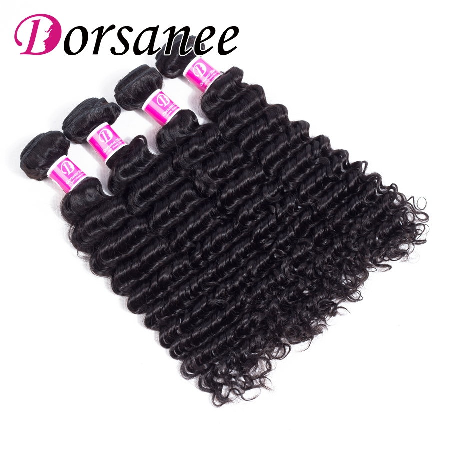 Dorsanee Malaysian Hair Weaves 4 Bundle Deal 100g 8 inch to 26 inch Deep Curly Wave Bundles Non Remy Human Hair Weft