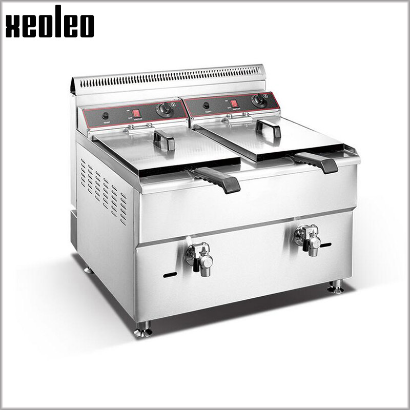 XEOLEO Double tanks Gas fryer Multifunction Commercial Fryer 2*18L Deep fryer Stainless steel French fries machine fried chicken stainless steel 2 tanks electric deep fryer commercial electric fryer french fries fried chicken deep frying furnace wk 82
