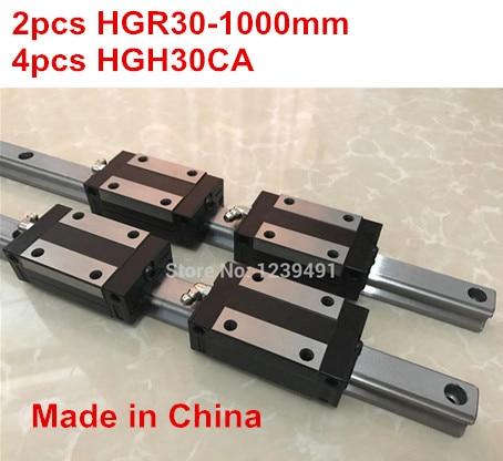 HG linear guide 2pcs HGR30 - 1000mm + 4pcs HGH30CA linear block carriage CNC parts 2pcs sbr16 1000mm linear guide 4pcs sbr16uu block for cnc parts
