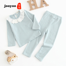 Baby Clothes Suit Newborn Spring And Autumn Long Sleeve Spotted Lace Collar Cotton Girl Infant Product jooyoo