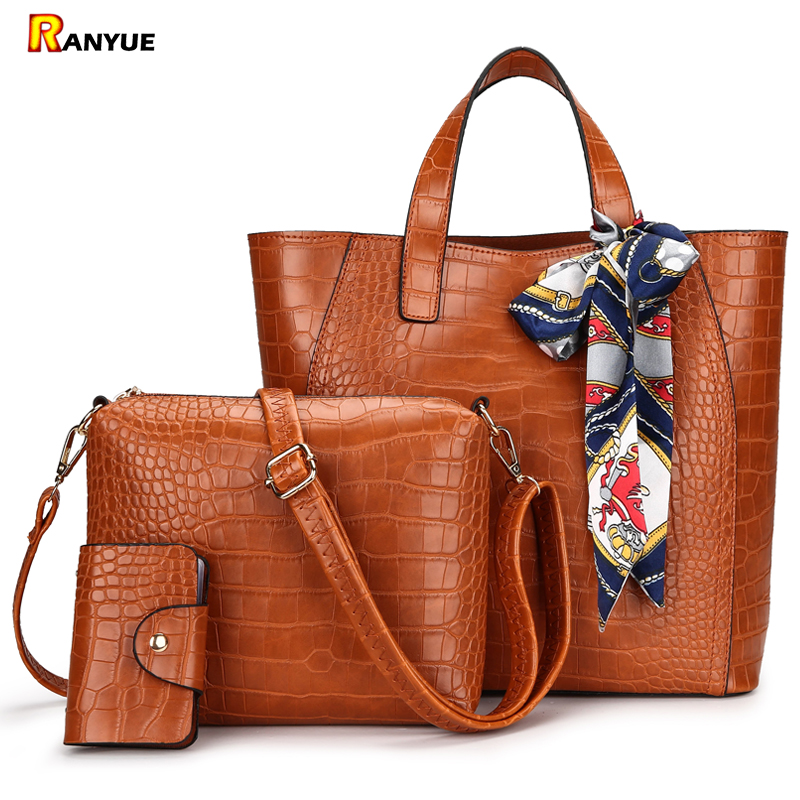 Scarf Women Bag 3 Sets Handbag Crocodile Women Leather Tote Bag Women Handbags Shoulder Crossbody Bags+Small Card Holder Bolsa шапочка для плавания indigo silicone 3d форма цвет белый