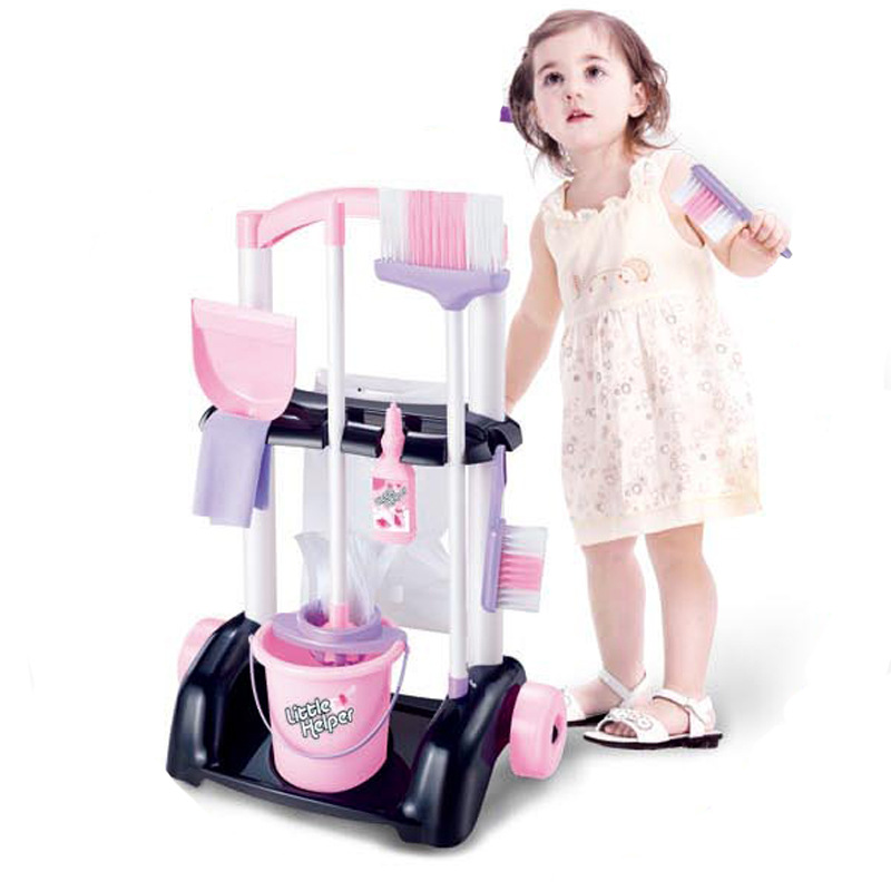 DIY Education Pretend Play Housework Toys Set Simulation Dollhouse Cleaning Trolley Multi-functional Girl Toy For Children BM035 simulation mini golf course display toy set with golf club ball flag