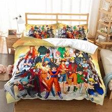Аниме Dragon Ball Z one piece 3D постельное белье Декор детской комнаты пододеяльник наволочки Наруто Аниме постельное белье