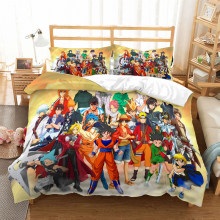Anime Dragon Ball Z One Piece 3D bedding set Children room decor Duvet Covers Pillowcases Naruto Anime bedclothes bed linen(China)