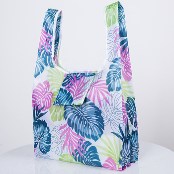Green leaves polyester Foldable Recycle Shopping Bag Eco Reusable Shopping Tote Bag Cartoon Floral Fruit Vegetable Grocery pouch