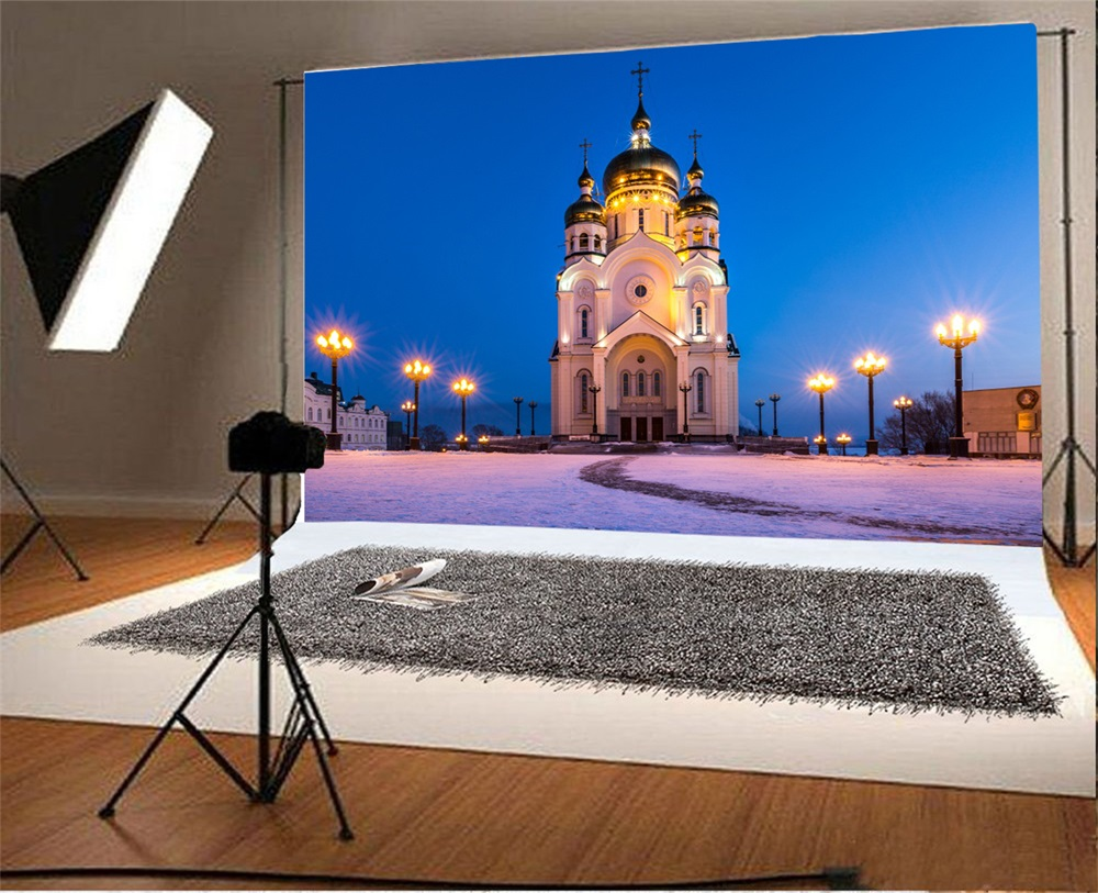 Laeacco Christian Church Exterior Night Scenic Photography Backgrounds Customized Photographic Backdrops For Photo Studio In Background From Consumer
