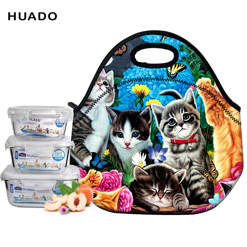Portable Cartoon Cute Cat Lunch Bag Insulated Cold Picnic Totes Carry Case For Kids Women Thermal Bag