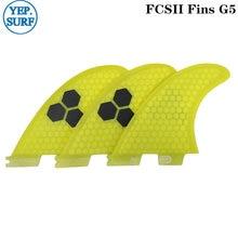 Доска для серфинга fcs2 g5 плавники желтого цвета соты стекловолокна