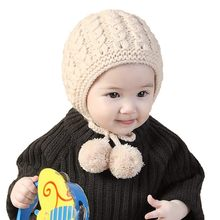 Fashion Knitted Baby Hat Winter Autumn Lace Up Baby Bonnet For 6-24 Months Girls Boys Warm Cap(China)