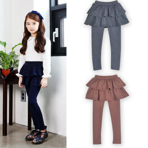 3-10 Yrs Girls Skirt Pants Autumn Spring Kids Leggings with Skirt Children Bottoms Trousers Skinny Pants Cotton Pantskirt