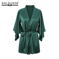 BALALOUM New Arrivals Women Green Robe Silk Sexy Kimono Nightgown Nightdress Wedding Bridal Party Bath Robes Gift High Quality