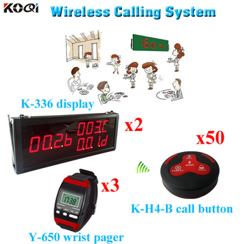 Wireless Service Bell System Newest Watches With Display and Call Button(2 display 3 waiter watch 50 call button)