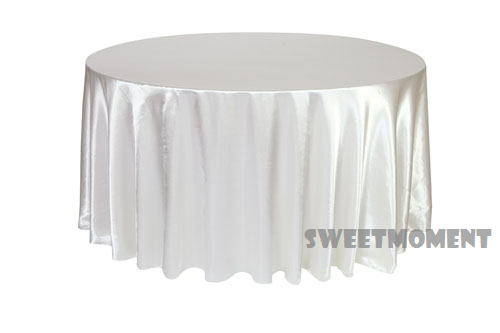 cd16a001a5f5d 20 Cheap white Satin/Polyester TableCloth Banquet Hot Sale Tablecloths Table  over 108'' Round