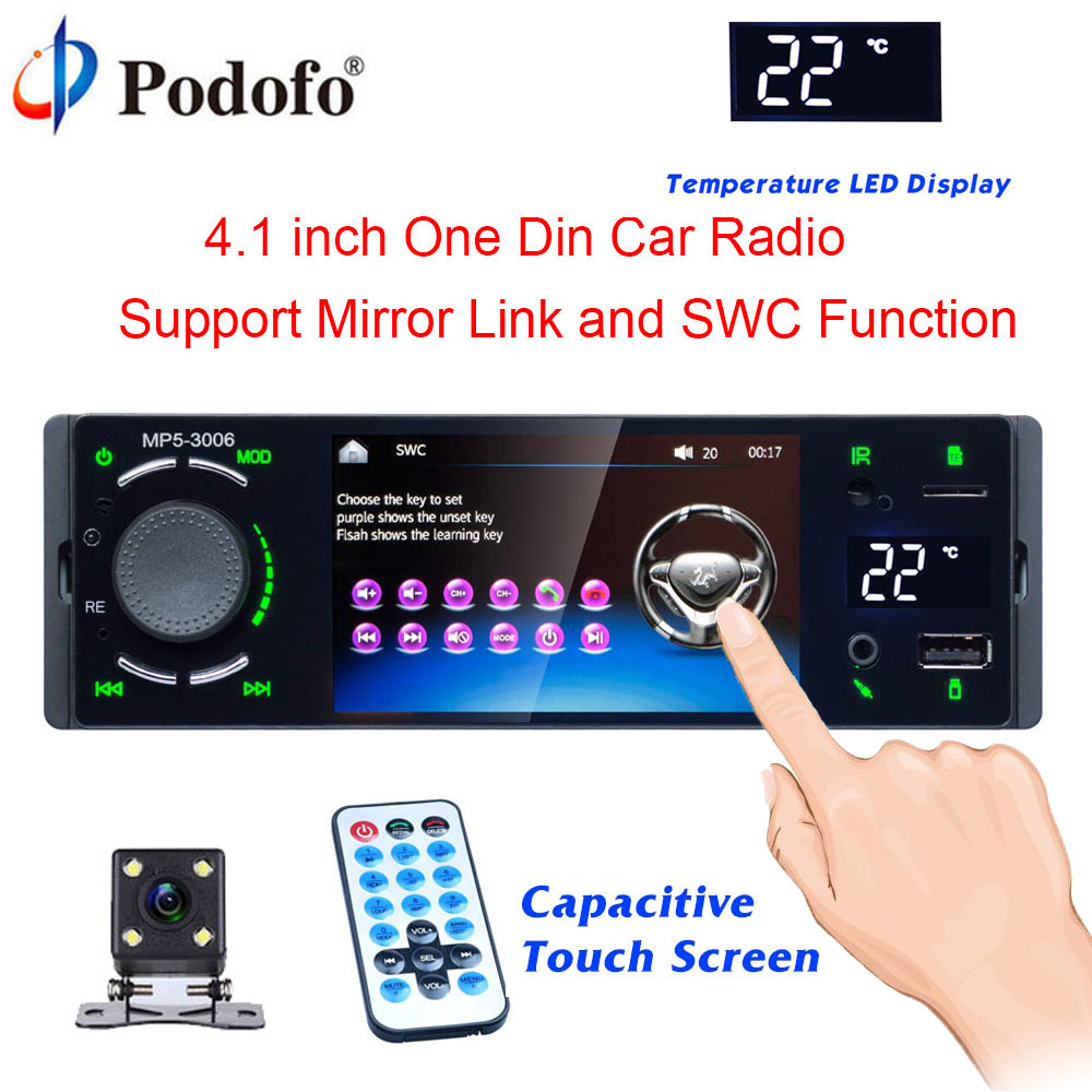 Podofo 4 Bluetooth Car Radio Touch Screen 1 Din Mirror Link Autoradio MP5 Video Player USB AUX Audio Stereo Rearview CameraPodofo 4 Bluetooth Car Radio Touch Screen 1 Din Mirror Link Autoradio MP5 Video Player USB AUX Audio Stereo Rearview Camera