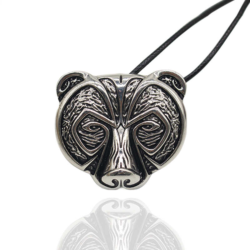 Hot Nordic Mythology Norse Viking Bear Amulet Pendant Necklace Animal Bear Head Talisman Choker Necklaces Vintage Jewelry Colar