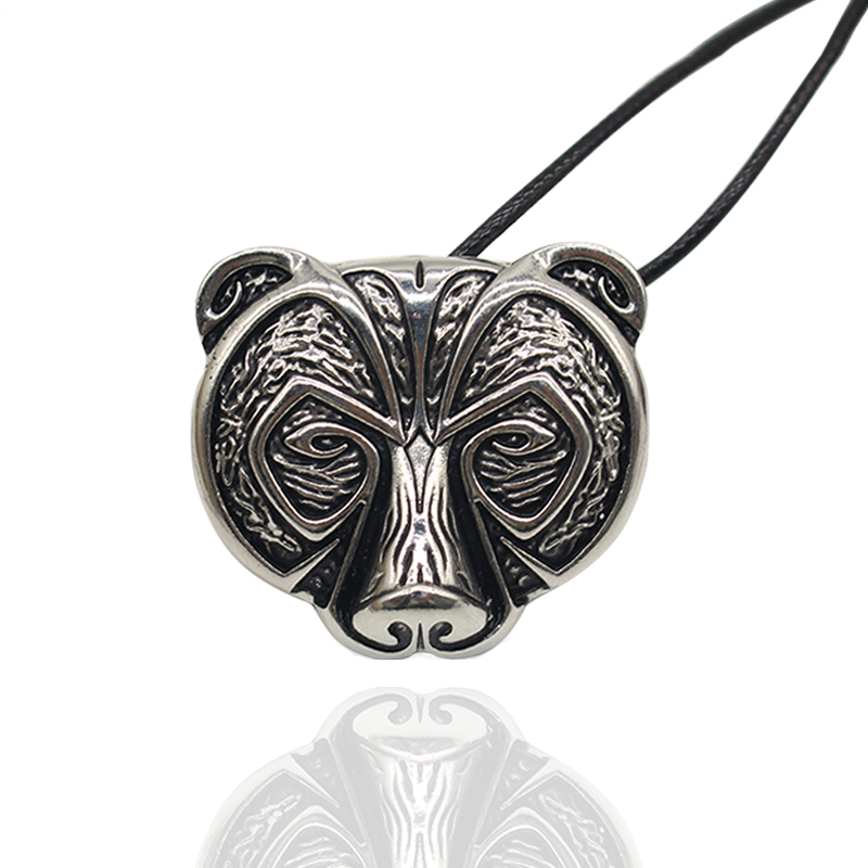 Vintage Punk Bear Pendant Necklace For Women Men Hip Hop Animal Leather Chain Necklaces Pendants Animal Jewelry Collares