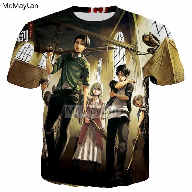 Japan Anime Attack on Titan 3D Print T-shirt Men/Women Hipster Rock Tshirt Tees 2018 Summer Cool Boys Tshirt Clothes ropa hombre