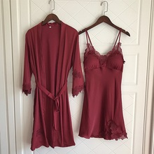 Nighties Women Pajamas Satin Sleepwear Pijama Silk Home Wear Lace Home Robe Chest Pads Sleep Lounge