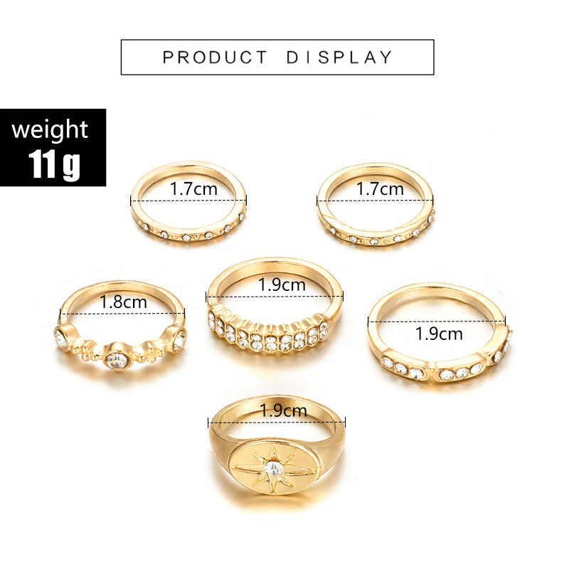 Tocona 6 pçs/set Bohemia Ouro Antigo Coroa Sol Strass Anel de Dedo Midi Knuckle Anéis Set para As Mulheres Da Moda Jóias 6834