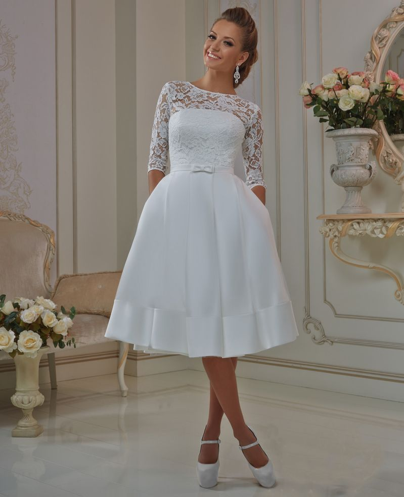 Wedding Dresess: Elegant Lace Sleeve Short Wedding Dresses 2016 Scoop Neck