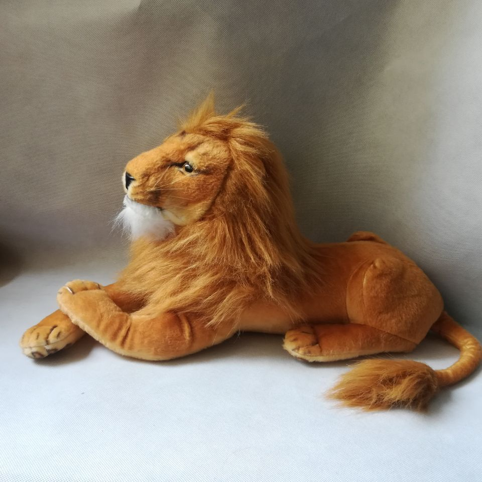 Real Life Toy Large 55cm Lying Male Lion Plush Toy Soft Doll Birthday Gift H2347