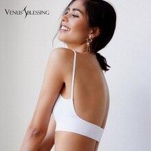 Fashion Women Sexy Bra Thin Cotton Solid Color Backless Bras Lingerie Nightwear Free shipping bralette bras for women
