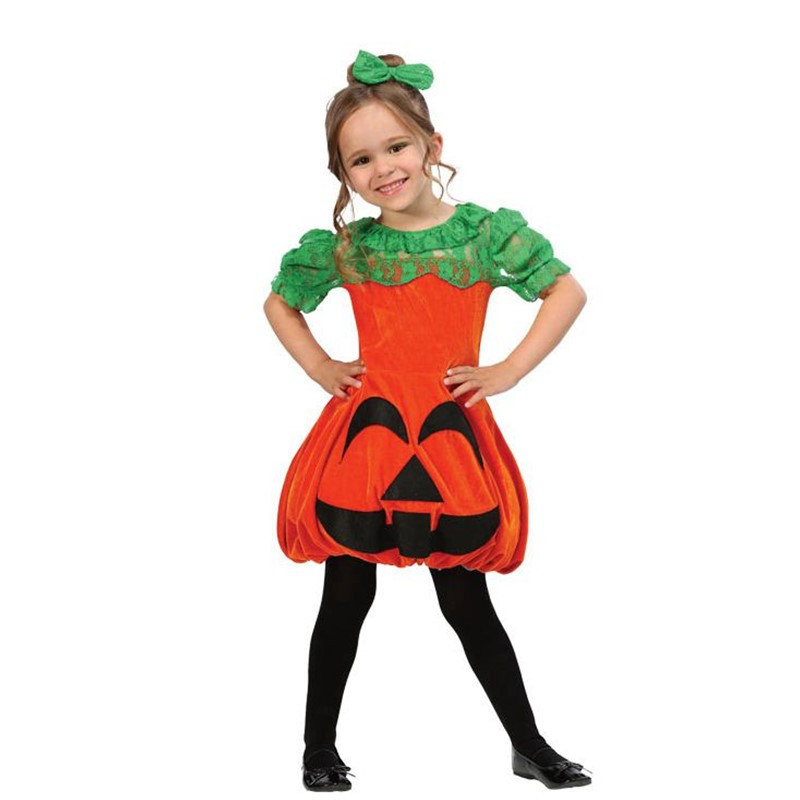 Deluxe Quality Girls Pumpkin Cosplay Clothing Halloween Style Kids Party Performance Costume