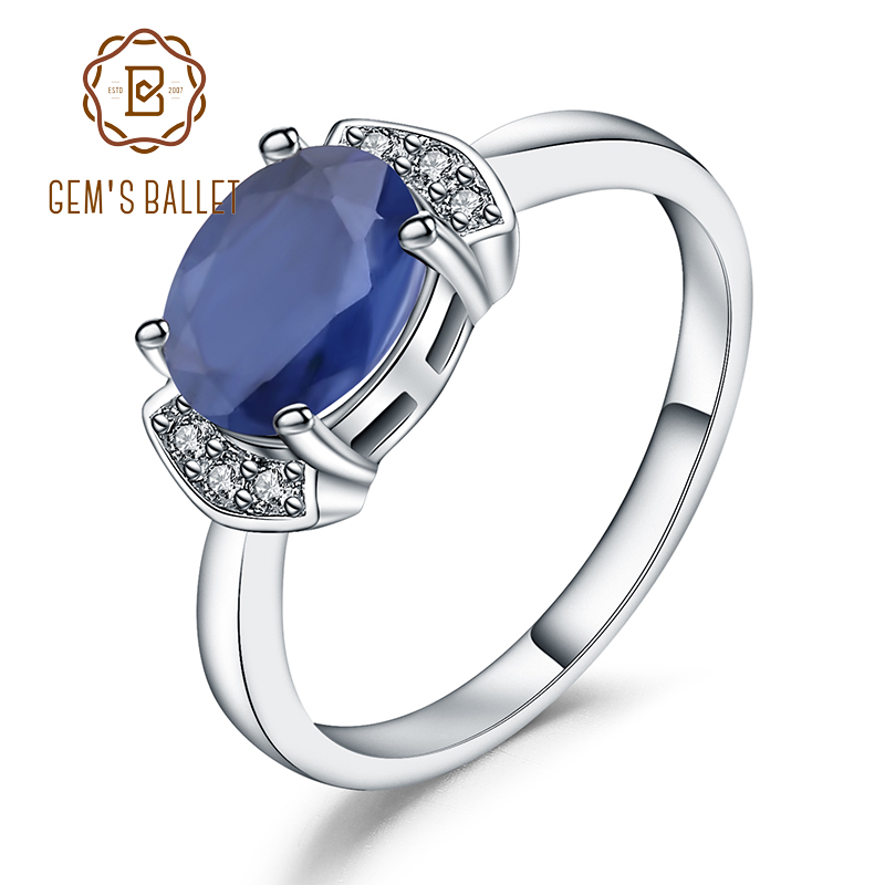 GEM'S BALLET 925 Sterling Silver Ring 2.02Ct Classic Natural Blue Sapphire Rings For Women Engagement Wedding Gift Fine Jewelry