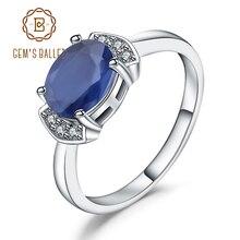 GEMS BALLET argent Sterling 925, bague en saphir, bleu naturel, pour femmes, fiançailles, cadeau de mariage, bijoux fins, 2.02Ct