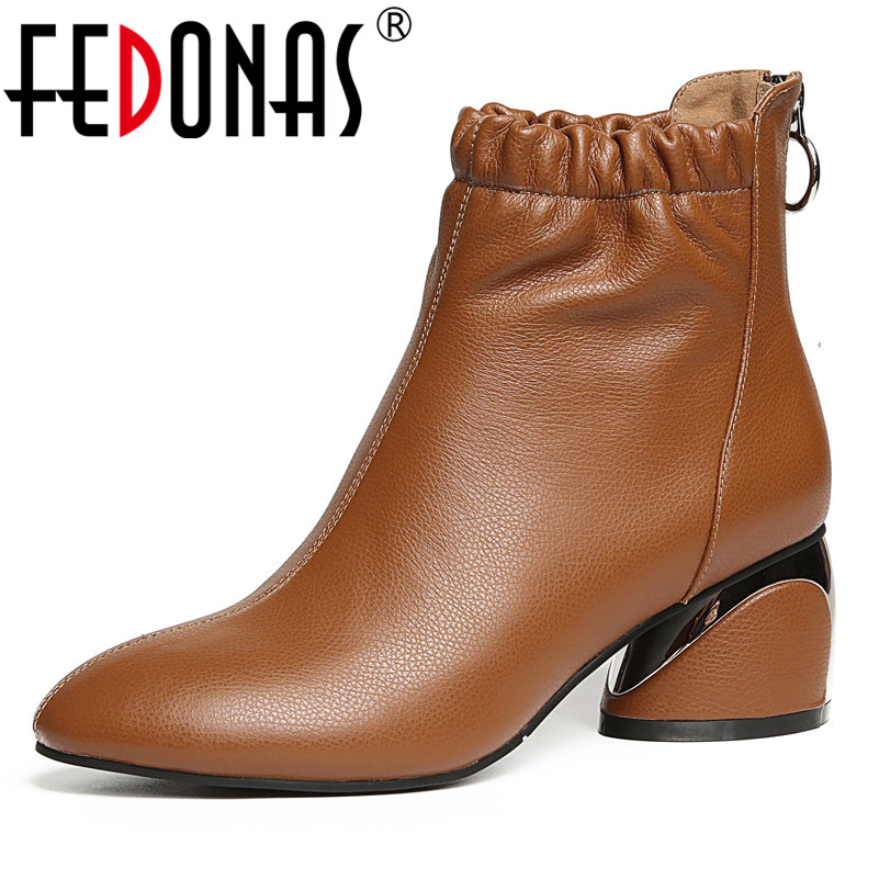 FEDONAS Fashion Women Ankle Boots Autumn Winter High Heels Martin Shoes Woman Round toe Elegant Office Pumps Ladies Basic Boots elegant women low high heels ankle boots pointed toe patchwork autumn winter shoes woman basic motorcycle boots dr b0038