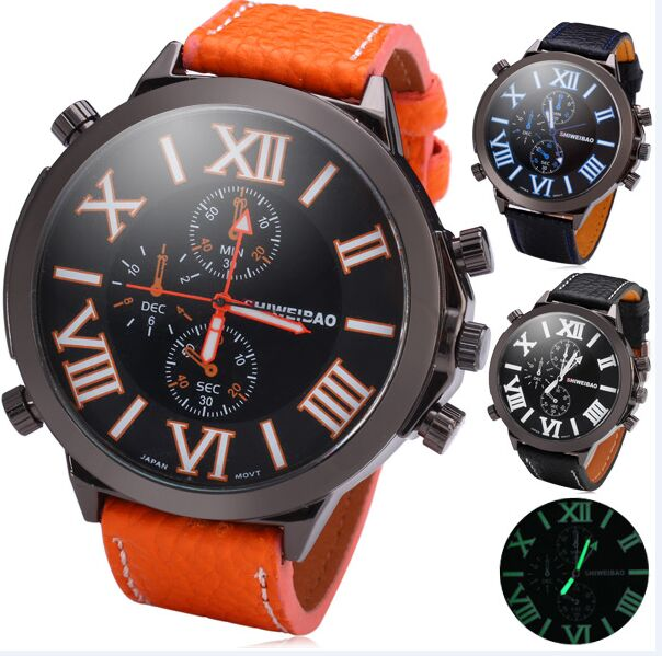 shiweibao Brand Sports Men Big Watch Leather Strap Quartz Watch Oversized Male Military Clock reloj hombre 3273