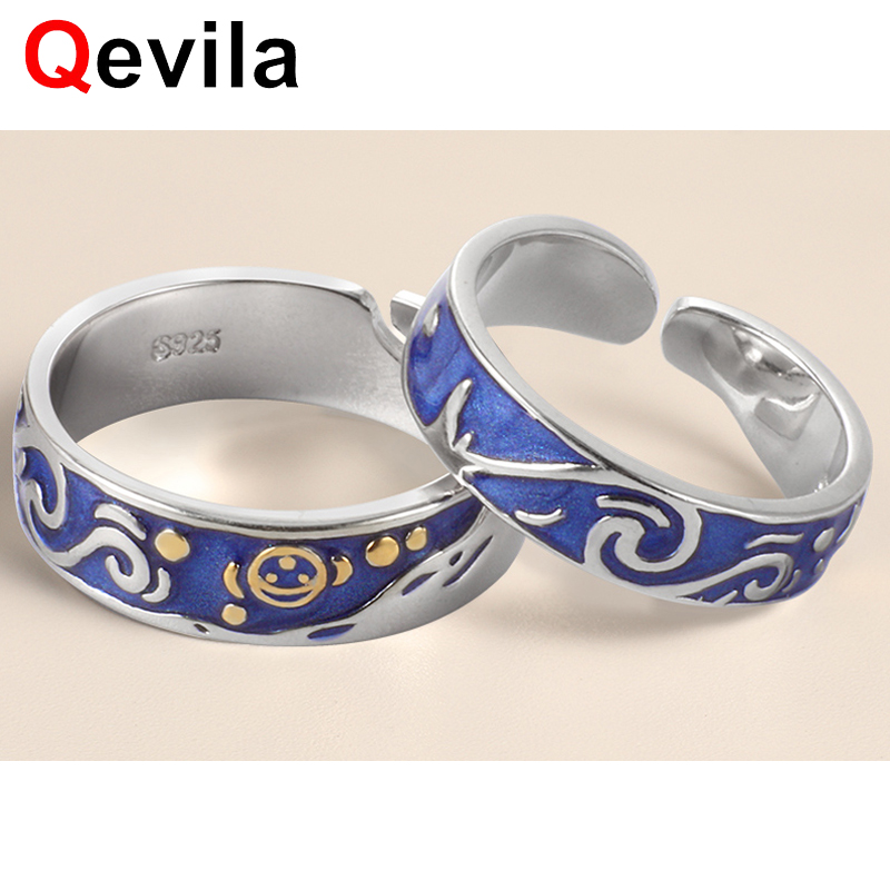 Qevila New Personalized Rings Customized Van Gogh Enamel Ring 925 Sterling Silver Gold Moon Star Canvas Rings For Women Jewelry