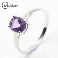 Hot sale solid silver sterling 925 rings 7*9mm 100% natural amethyst ring birthday gift for woman
