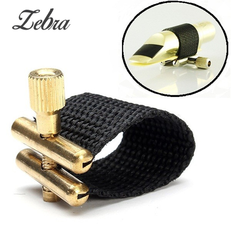 Zebra Fabric Metal Saxophone Ligature Soprano Alto Tenor Tonality Saxophone Ligature Black Durable Musical Instrument Parts soprano saxophone bb curved sax high f with case the blue silver keycopper simulati copper simulation soprano saxophone