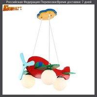 HGhomeart Baby Room Cartoon Wood 3 Head Led Pendant Lights Glass E27 LED Lamp 110 220v