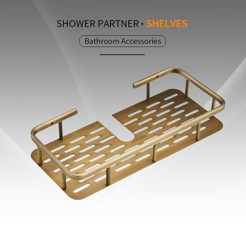 Bathroom Shelves Antique Brass Wall Mounted Shower Corner Shelf Towel Hooks Basket Bathroom Accessories Towel Holder 811065