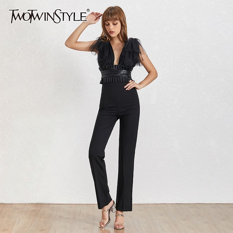 TWOTWINSTYLE Sexy Mesh Patchwork Women Jumpsuit Sleeveless Off Shoulder High Waist Slim Pants Female Fashion Summer 2019
