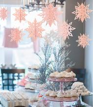 6 Pcs/Set Cardboard 3D Hollow Snowflake Hanging Ornaments