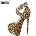 Senhoras Sapatos de Salto Alto das Mulheres Cross Strap Buckle Floral Leopard Rhinestone Bombas Sexy Festa de Casamento Calçados Tamanho 35-46 B010