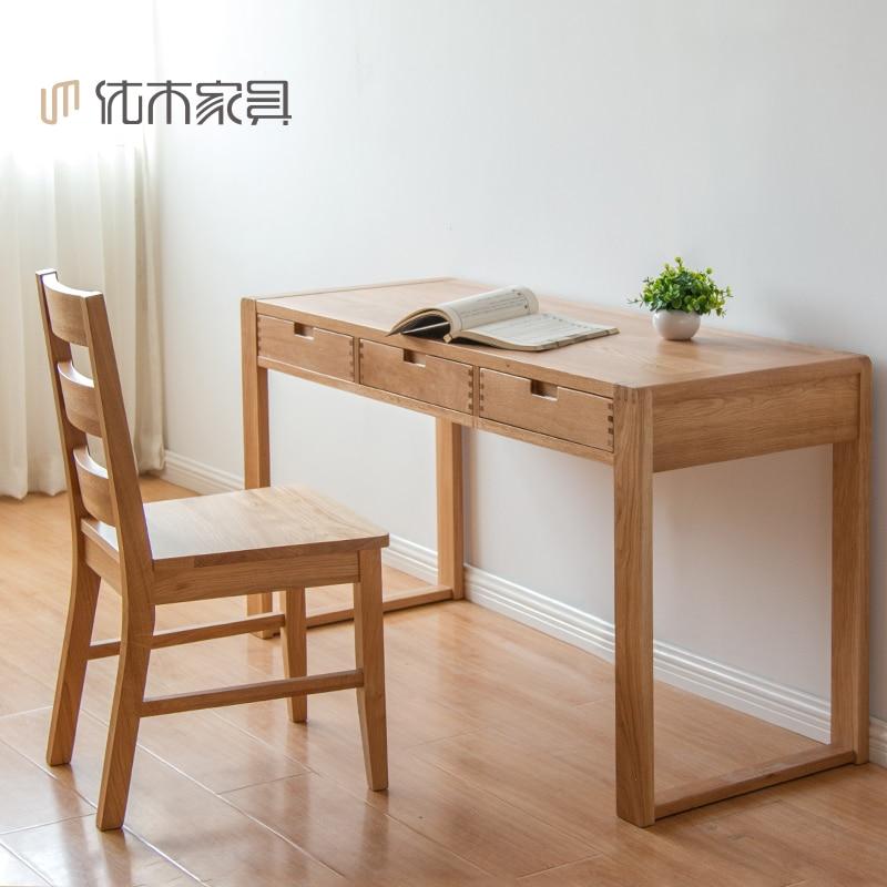 Blanco puro roble escritorio escritorio de madera 1 2 1 4 m minimalista escritorio de la - Mesas de escritorio de madera ...