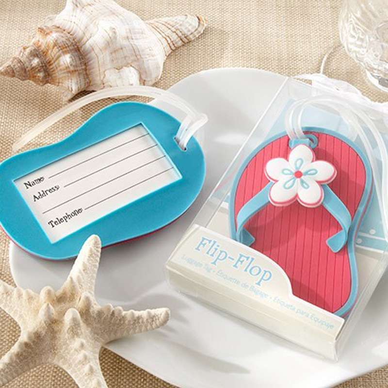 Factory directly sale blue or red color NEW ARRIVAL Flip-Flop Beach Themed Luggage Tag Wedding Favors 100PCS FREE SHIPPING