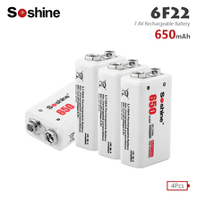 Soshine 4pcs PPP3 6LR61 Battery 6F22 9V Li-ion Lithium 650mAh Chemistry Rechargeable Batteries For Alarm Electronic Instruments