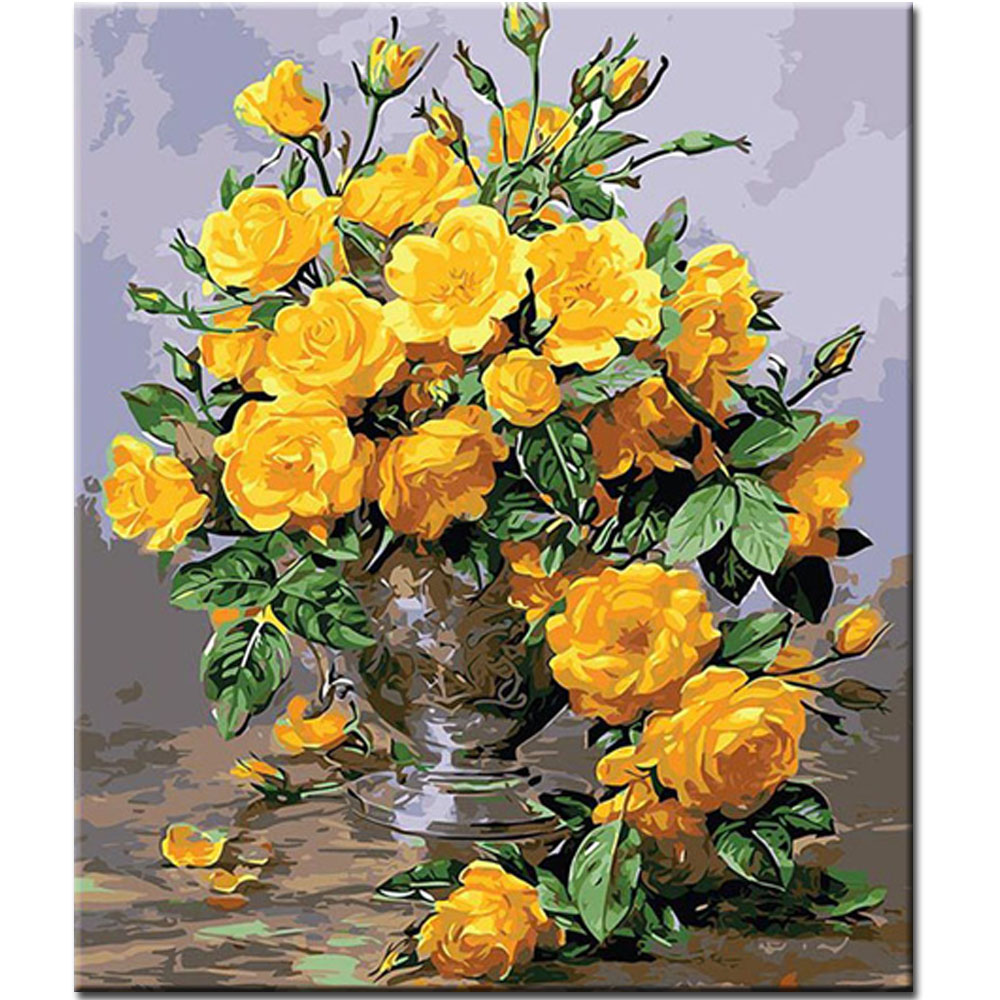 WEEN Yellow Flowers-DIY Oil Painting By Numbers,Framed Wall Picture,Oil Canvas Paint Numbers Home Decor Picture 40x50cm