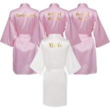 Owiter 2019 Summer Women Pink Gown Satin Silk Bride Robe Wedding Bridesmaid Dressing White Robes Clothes Skirt 1pc