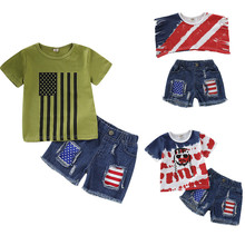 July of 4th Kids Clothing Baby Boys Independence Day Summer Clothes Set T-Shirt Tops+Denim Pants Toddler Baby Clothes 0-4Y цена