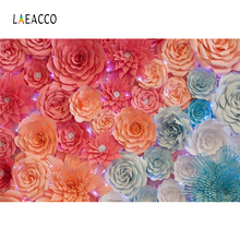Laeacco Flower Paper Handmade Wedding Wall Baby Bridal Portrait Photo Backgrounds Photography Backdrops Photocall Photo Studio 10x10ft 3x3m scenic muslin backgrounds photography photo studio backdrops hand painted flower muslin backdrop wedding