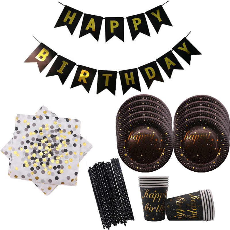 Birthday Party Plates Wedding Decorations Set Gold Dot Disposable Tableware Paper Cup Straws  Home Party Supplies for Kids