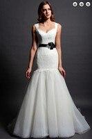 Livraison gratuite nouvelle mode nuptiale robe de mariée blanc longue Amovible ceinture plus la taille dentelle dos nu Sirène mère de la mariée robe