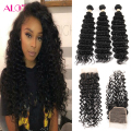 8a Peruvian Virgin Hair With Closure HC Human Hair 3 Bundles Deep Wave With Closure Peruvian Deep Curly Virgin Hair With Closure
