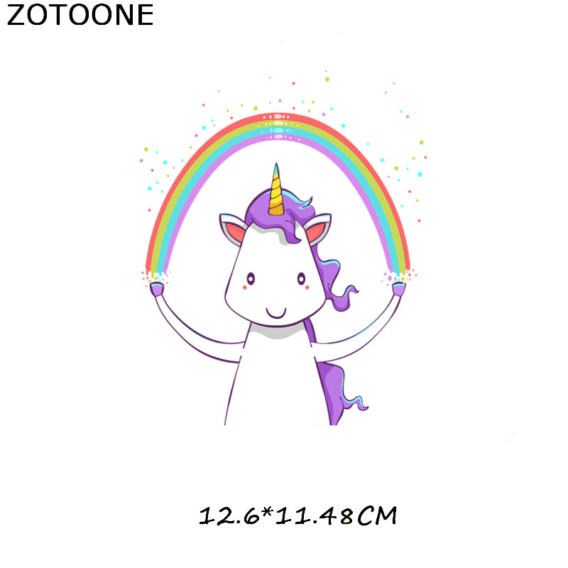 ZOTOONE Cute Unicorn Garment Patch for Body Iron on Transfer DIY T shirt Washable Appliqued Colorful Heat Transfers for Clothing in Patches from Home Garden